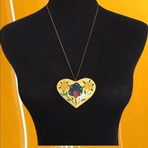 Vintage Wooden Heart Necklace